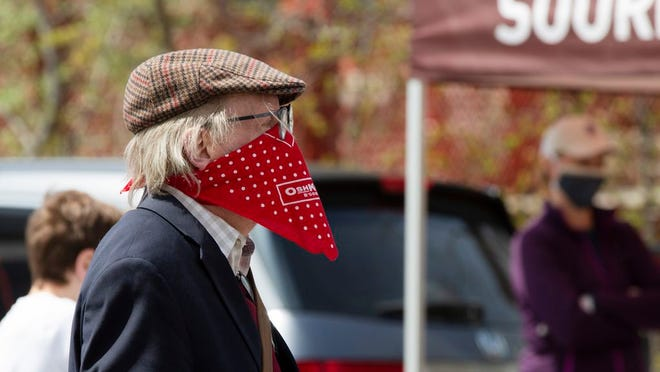 The  first day of the Warwick Farmers Market was Sunday Mothers Day May 10, 2020. Signs remined people to maintain their social distance and wear masks while handwashing stations were made available. ROBERT G BREESE