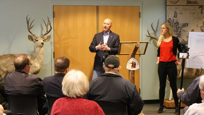 Gov. Pete Ricketts and Sen. Julie Slama hosted a town hall at the MRB-Lewis and Clark Center on Friday, Feb. 14.