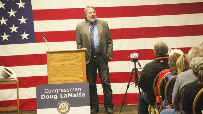 Congressman Doug LaMalfa speaks in Yreka in September of 2017.