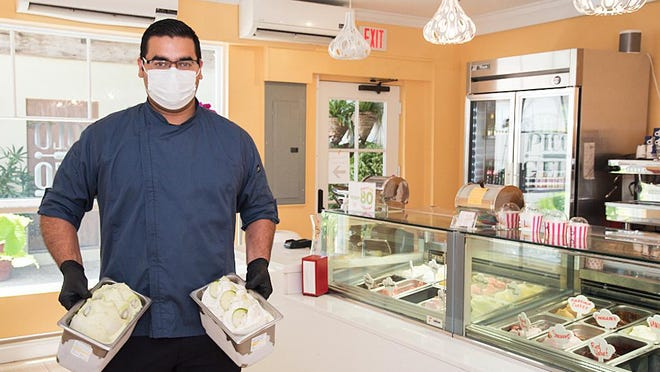 With just-completed batches of Key lime pie gelato and kiwi sorbetto, Victor Corrales is the gelato/sorbetto-maker and manager at Piccolo Gelato, 66 Via Mizner.