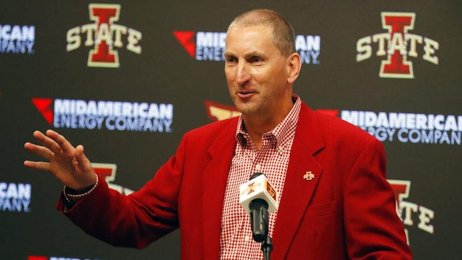 Iowa State Athletic Director Jamie Pollard speaks Aug. 1, 2018, during an NCAA college football news conference in Ames.