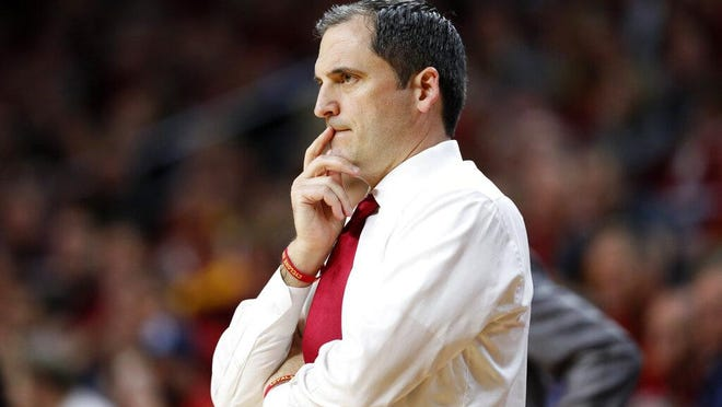 Iowa State coach Steve Prohm watches from the sideline during a game last season against Kansas Wednesday in Ames.
