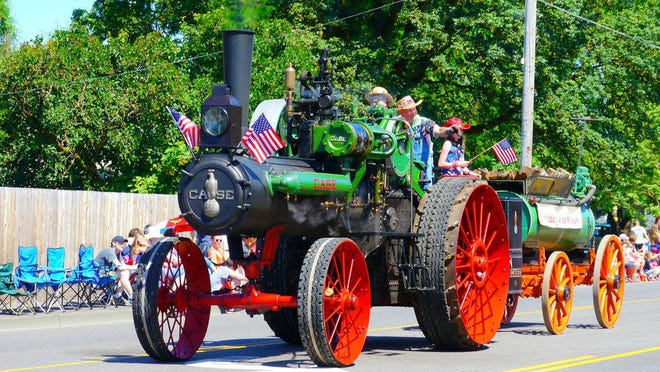 The Harrisburg Steam Engine rolls through town during a previous July 4 Independence Day parade. Donated to the Harrisburg Area Museum by siblings Glenn Hurd and Janet Hurd-Gibson several years ago, the engine was originally owned by their parents, Roscoe and Elinor Hurd, who opened Hurd's Hardware & Custom Machinery in Harrisburg in 1947.