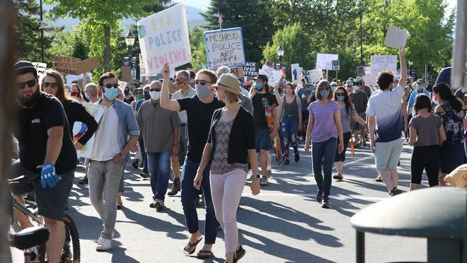 Peaceful protest in Mount Shasta on June 2, 2020.