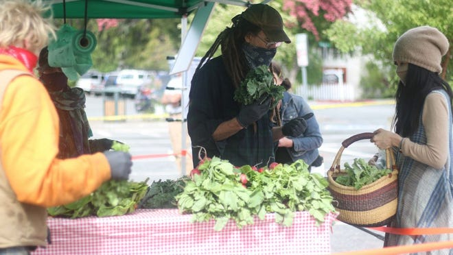 Vendors from Marble Mountain Farm in Happy Camp brought their wares to the Mount Shasta Farmers Market's first event of the season last week. Around Siskiyou County, such markets are opening with new precautions in place to combat the transmission of COVID-19.