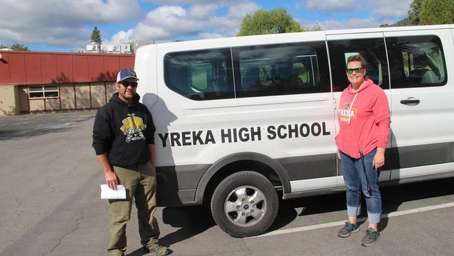 Yreka High School teachers Jess Bray and DeeDee Horderfield were one group of teachers who took school vans each week to deliver and pick-up assignments to students living in rural areas.