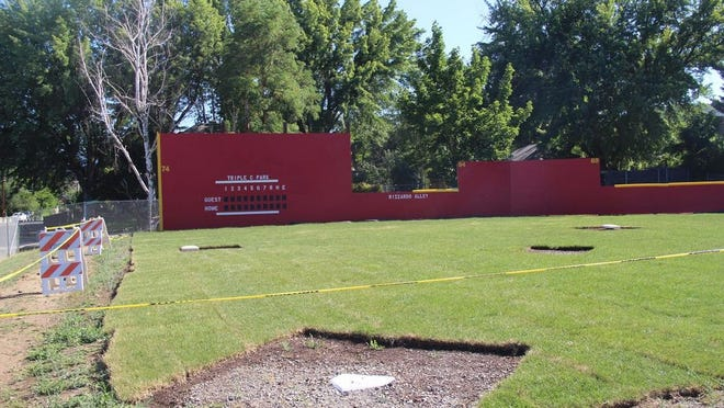 The new wiffle ball field is located at Newton Sports Park on North Oregon Street, where the volleyball courts used to be. The volleyball courts were seldom used and falling into disrepair.