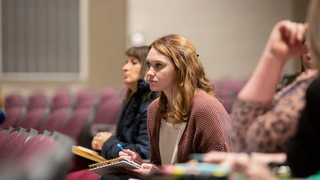 A Maury County Public Schools educator attends a a payroll forum at Columbia Central High School on Tuesday, Feb. 11, 2020.