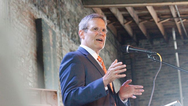 Tennessee Gov. Bill Lee speaks at the Great Futures Luncheon, a fundraising effort for the Boys and Girls Club of Maury County and held at Puckett's Grocery and Restaurant in Columbia on Wednesday, April 17, 2019.