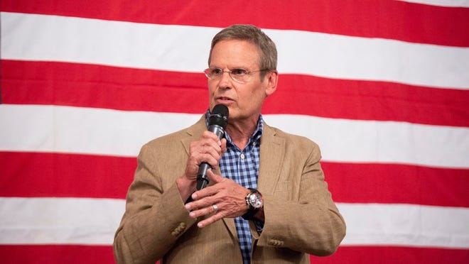 Gov. Bill Lee speaks at a fundraising event for Rep. Scott Cepicky, R-Columbia, held at the Westbury House on the Square in Columbia on Monday, Aug. 5, 2019.