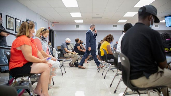 Maury County Public Schools Superintendent Michael Hickman attends a review of the school system's reopening plan by the local board of education at Horace O. Porter School in Columbia on Monday, July 14, 2020.