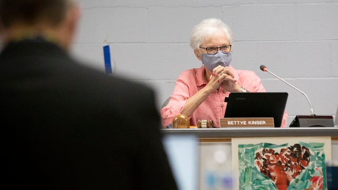 MCPS School Board Chair Bettye Kinser leads a discussion discussion of the school district's reopening plan at Horace O. Porter School in Columbia, Tenn., on Monday, July 31, 2020.