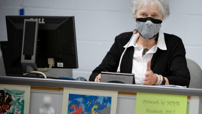 Board Chair Bettye Kinser attends a review of the Maury County Public Schools COVID-19 health plan during a meeting at Horace O. Porter School on Thursday, July 23, 2020.