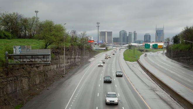 Cars travel southbound on Interstate-65 in Nashville.