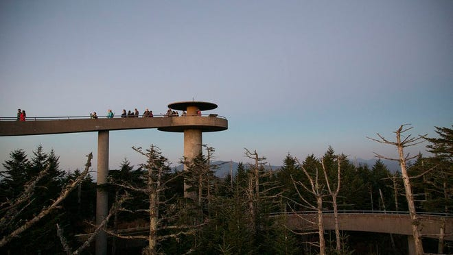 Visitors climb Clingmans Dome, highest point in the Great Smoky Mountains National Park, at sunset on Saturday, Oct. 29, 2016.