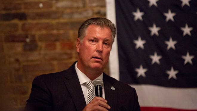 Rep. Scott Cepicky, R-Columbia, speaks at at a Reagan Day fundraising event for the Maury County Republican Party in Columbia on Thursday, Oct. 3, 2019.
