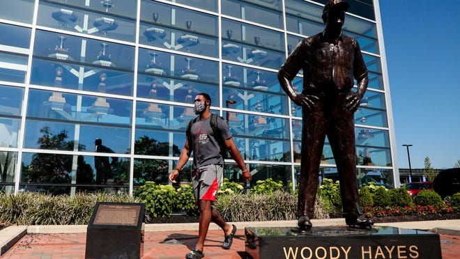 Ohio State Buckeyes linebacker Baron Browning arrives for voluntary workouts on Monday, June 8, 2020 at the Woody Hayes Athletic Center in Columbus, Ohio.