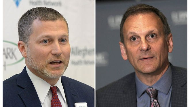These are file photos of Saint Vincent President Christopher Clark, D.O., at left, and UPMC Hamot President David Gibbons, at right.