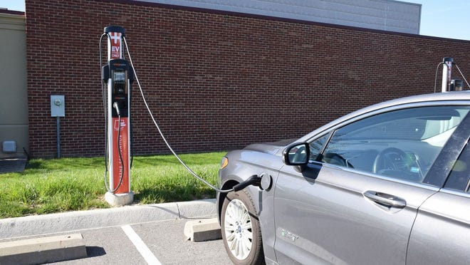 This electric-vehicle charging station is at AEP Ohio's Gahanna headquarters. New Albany is considering a plan to install two charging stations at the Philip Heit Center for Healthy New Albany, 150 W. Main St., by this fall.