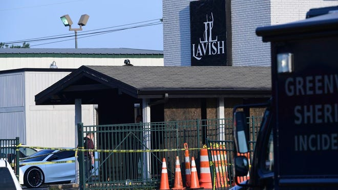 Lavish Lounge in Greenville, S.C., is seen in a Sunday, July 5, 2020 photo. A sheriff's official says a shooting at a South Carolina nightclub left two people dead and eight wounded. No one was immediately taken into custody following the early Sunday shooting at Lavish Lounge, but a Greenville County sheriff's spokesperson said they were looking for two suspects.