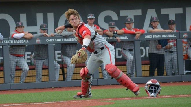 Ohio State catcher Dillon Dingler sets to throw to first base during the 2019 season.