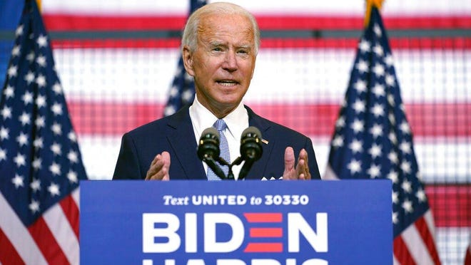 Democratic presidential candidate, former Vice President Joe Biden, speaks at a campaign event in Pittsburgh, Pa., Monday, at a location called Mill 19.