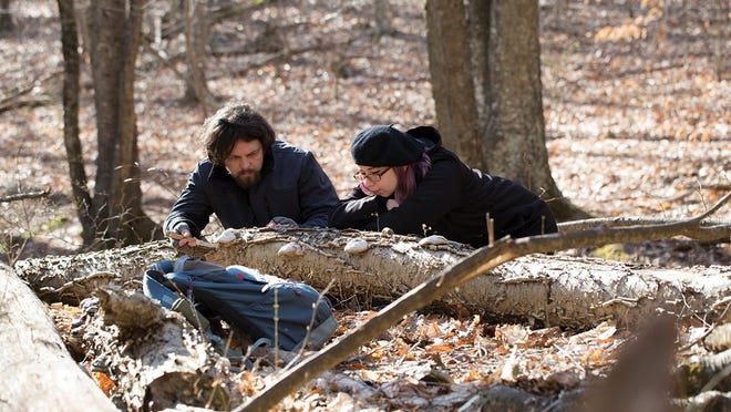 Ryan Bouchard and Emily Schmidt examine some inedible tinder conk (Fomes fomentarius) on a log in Glen Park in Portsmouth.