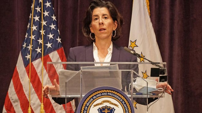 Gov. Gina Raimondo holds her daily coronavirus update on Friday afternoon at the Veterans Memorial Auditorium. The state has stopped holding the news conference on weekends and holidays.