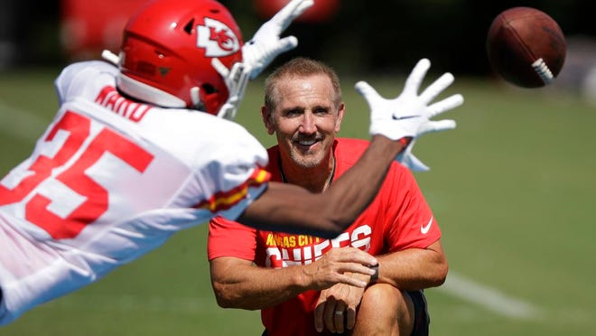 In this July 29, 2019, file photo, Kansas City Chiefs defensive coordinator Steve Spagnuolo watches a drill during NFL football training camp in St. Joseph, Mo.
