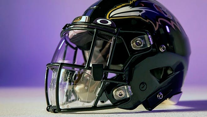 This photo provided by Oakley shows a new face shield designed by Oakley. With NFL training camps set to start at the end of the month, the league believes it is closer to one answer when it comes to player safety in the midst of the coronavirus pandemic. Face shields for the players' helmets.