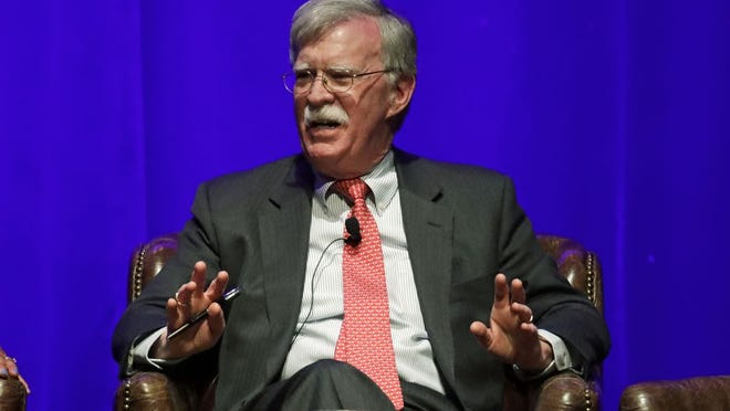 FILE - In this Feb. 19, 2020, file photo, former national security adviser John Bolton takes part in a discussion on global leadership at Vanderbilt University in Nashville, Tenn. An attorney for Bolton said Wednesday, June 10, that President Donald Trump is trying to put on ice publication of the former top administration official's forthcoming memoir after White House lawyers again this week raised concerns that the book contains classified material that presents a national security threat.