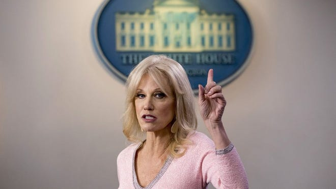 FILE - In this Dec. 5, 2019, file photo, Kellyanne Conway speaks in the Briefing Room at the White House in Washington. Conway, one of President Donald Trump's most influential and longest serving advisers, announced Sunday, Aug. 23, 2020, that she would be leaving the White House at the end of the month. Conway, who was Trump's campaign manager during the stretch run of the 2016 race, was the first woman to successfully steer a White House bid before becoming a senior counselor to the president. She informed Trump of her decision in the Oval Office.