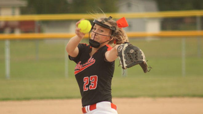 Kirksville junior pitcher Audrey Danielson delivers the ball during the first inning against Fulton on Thursday.