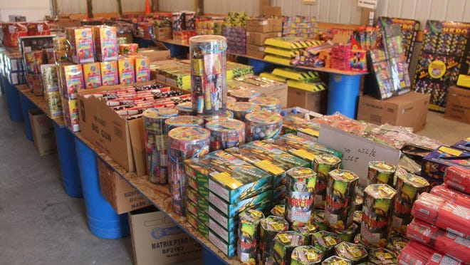 Fireworks available for sale at the El Kadir Shrine Club in Kirksville. Proceeds from sales at the Shrine Club support the Shriners Hospitals for Children and burn centers.