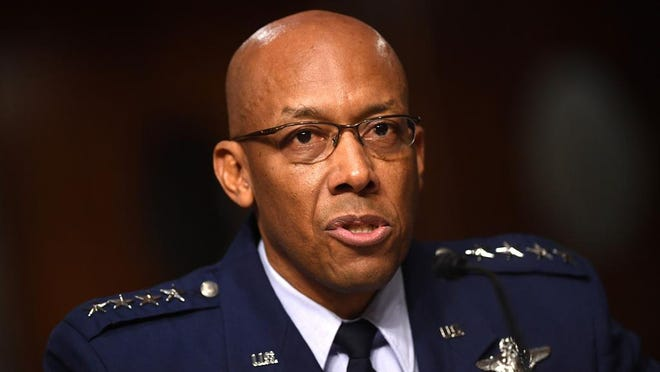 Gen. Charles Q. Brown Jr., testifies during a Senate Armed Services hearing May 7.