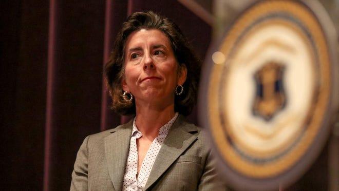 Gov. Gina Raimondo during Monday's coronavirus briefing at Veterans Memorial Auditorium in Providence.