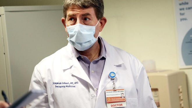 """Dr. Jeremiah Schuur, chair of the Department of Emergency Medicine at Brown University's Alpert Medical School, is concerned by a recent uptick in Rhode Island coronavirus cases. He says, """"If we slip back in our behaviors, if we let the virus rise to the rates we're seeing in the South and Southwest, we will have to go back to much harsher restrictions, and we don't want that."""""""