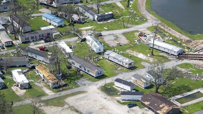 Hurricane Laura damage Thursday, in Lake Charles, Louisiana.