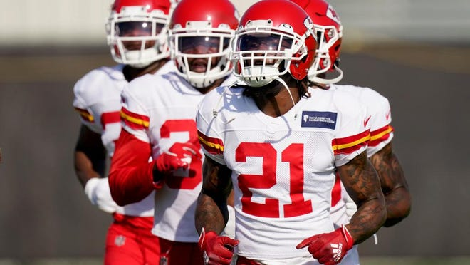 Kansas City Chiefs cornerback Bashaud Breeland (21) and teammates run during training camp Friday in Kansas City.