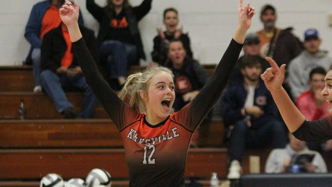 Kirksville's Abby Reuschel cheers during last year's district title game against Marshall.