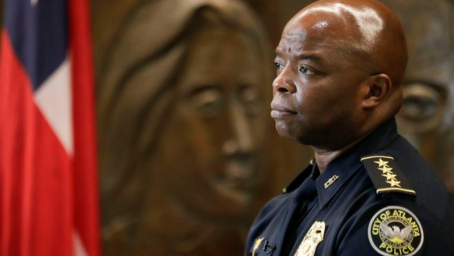 Interim Atlanta Police Chief Rodney Bryant speaks to the Associated Press on Thursday, June 18, 2020, in Atlanta. On Saturday, June 13, Former Atlanta Police Chief Erika Shields resigned after an officer fatally shot Rayshard Brooks after a struggle in a Wendy's restaurant parking lot.