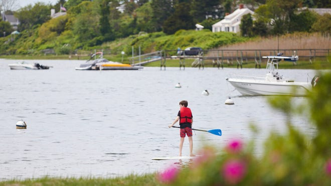 A young paddle boarder found enjoying the calm water at Oyster Pond Beach.