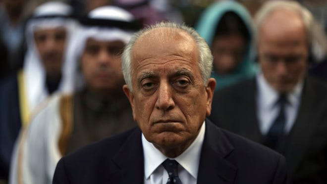 In this March 9, 2020 file photo, Washington's peace envoy Zalmay Khalilzad, attends Ashraf Ghani's inauguration ceremony at the presidential palace in Kabul, Afghanistan. According to a statement released Thursday, July 2, 2020, by the U.S. Embassy in Islamabad, Khalilzad told Pakistani officials that Afghanistan's Taliban and Kabul's political leaders were close to starting negotiations to decide the face of a post-war Afghanistan, a crucial next step in a U.S. deal signed with the Taliban in February.