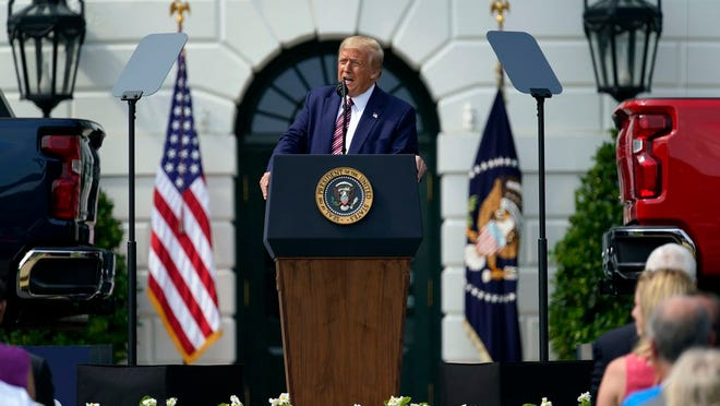 President Donald Trump speaks during an event on regulatory reform on the South Lawn of the White House, Thursday, July 16, 2020, in Washington.