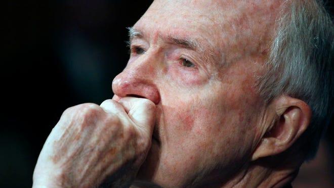 In this March 5, 2009 file photo, former National Security Adviser Brent Scowcroft testifies on Capitol Hill in Washington. A longtime adviser to Presidents Gerald Ford and George H.W. Bush has died. Brent Scowcroft was 95. A spokesperson for the late President Bush says Scowcroft died Thursday of natural causes at his home in Falls Church, Virginia.