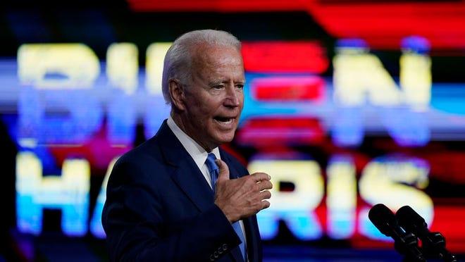 Democratic presidential candidate former Vice President Joe Biden, speaks in Wilmington, Del., Wednesday, Sept. 2, 2020, about school reopenings.