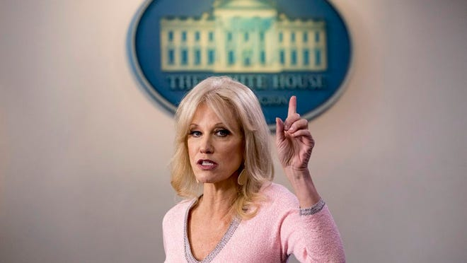 Kellyanne Conway speaks in the Briefing Room at the White House in Washington in December. Conway, one of President Donald Trump's most influential and longest serving advisers, announced she would be leaving the White House at the end of the month.