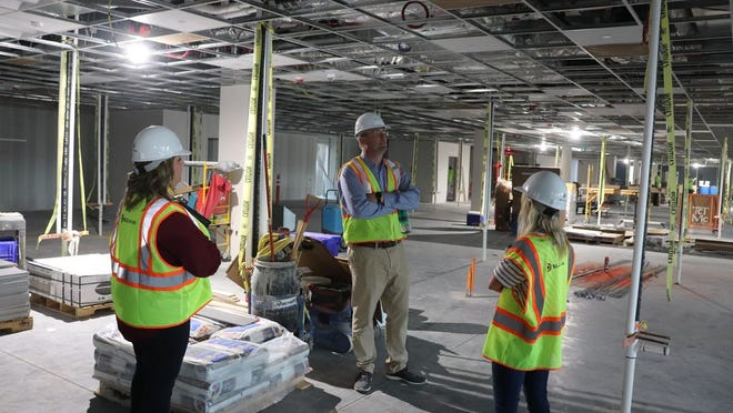 Dave Larson, CentraCare vice-president of facilities management,talked about the progress of the hospital project.