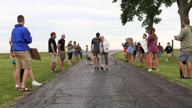 The final stretch of the run, which ended at the Reding farm near Morgan, was done by Spencer Quast with his grandma, Donna Reding.