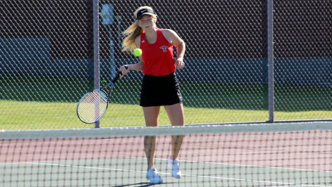 Kate Foy returns a shot during her recent second singles match at the RVHS tennis courts.